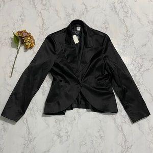 Dots dressy black satin blazer one button jacket l